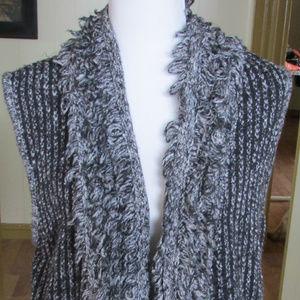 Cotton blend tweed loopy vest by Calvin Klein Jean